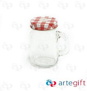 Canequinha Mason Jar Incolor Tampa Xadrês Vermelho e Branco com Furo 120ml