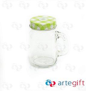 Canequinha Mason Jar Incolor Tampa Xadrês Verde e Branco com Furo 120ml