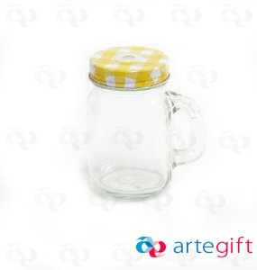 Canequinha Mason Jar Incolor Tampa Xadrês Amarelo e Branco com Furo 120ml
