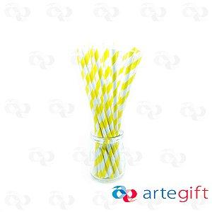 Canudo de Papel Branco Listrado Amarelo