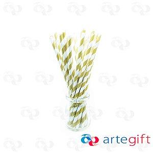Canudo de Papel Branco Listrado Dourado