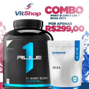 Whey Blend Rule 1 (5 lbs) (sabores) + BCAA 250 Grs MyProtein - Sabor Laranja