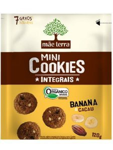 Mini Cookie Orgânico Integral Banana e Cacau - 120g