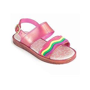 Sandália Pimpolho Infantil Colorê Rosa Arco - Íris