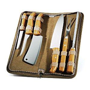 Conjunto de facas inox/bambu com estojo