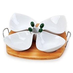 Conjunto para Petisco em Porcela/Bambu - Turim (10 peças)