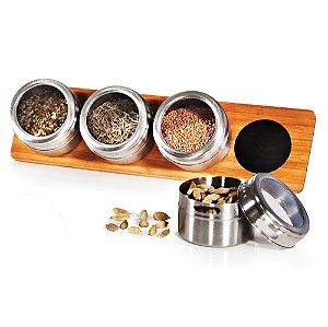 Porta Condimentos Inox/Bambu - Acapulco - (5 peças)