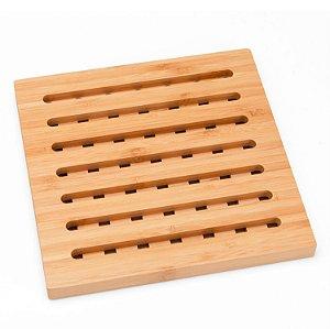 Descansa Prato Quadrado em Bambu - 18 cm