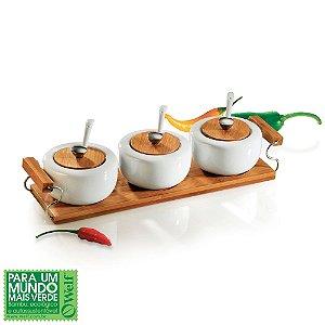 Conjunto de potes em porcelana / Bambu Ravenna - 7 pçs