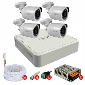 Kit de Segurança CFTV com 2, 3 ou 4 Cameras + DVR 4 canais + Acessórios