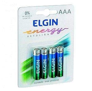 Pilha Alcalina Elgin AAA 1.5V Blister Com 4 Unidades
