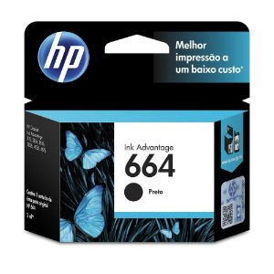 Cartucho de Tinta Ink Advantage F6V29AB HP 664 Preto 2ml