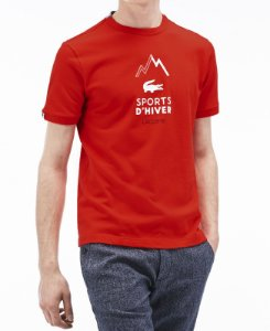 Camiseta Lacoste TH9209 Vermelho Coral