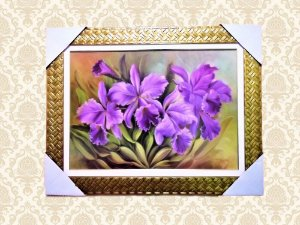 Quadro Decorativo Com Arranjo de Flores Lilás