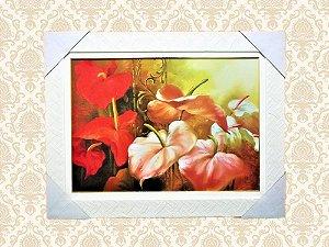 Quadro Decorativo Com Arranjo de Flores Vermelho