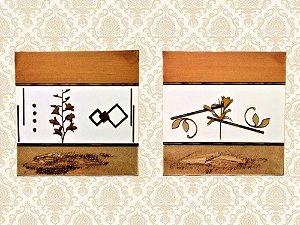 Par de Quadros Decorativos Tela Quadrado Damasco e Bege