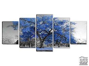 Quadros Decorativos 5 Telas Árvore Azul