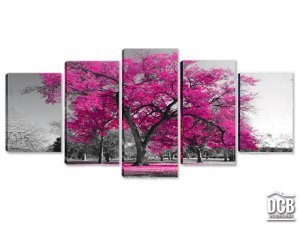 Quadros Decorativos 5 Telas Árvore Pink