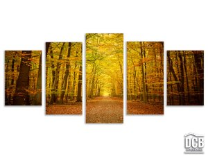 Quadros Decorativos 5 Telas Floresta Amarelo