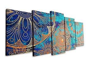 Quadro Decorativo Para Sala Mandala Verde 5 Peças 70x162 Centímetros
