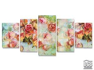 Quadros Decorativos 5 Telas Jardim de Rosas