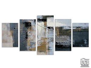 Quadros Decorativos 5 Telas Abstrato Cinza