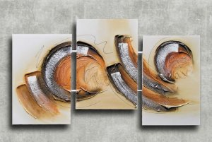 Quadro Decorativo Abstrato Triplo 60x126 QDT02
