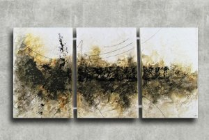 Quadro Decorativo Abstrato Triplo 60x126 QDT03