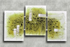 Quadro Decorativo Abstrato Triplo 60x126 QDT06