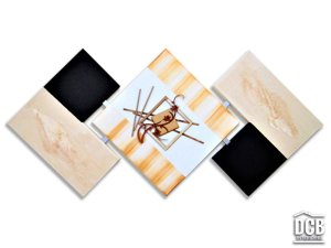 Quadro Decorativo Abstrato Pintura Artesanal Preto e Bege 60x120 Centímetros