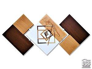 Quadro Decorativo Abstrato Moderno Marrom 60x120 Centímetros
