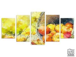 Quadro Decorativo Cozinha 5 Telas Frutas 70x162 cm
