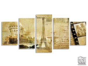 Quadro Mosaico Paisagem Paris Bege 70x162 Centímetros