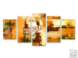 Quadro Decorativo 5 Telas Abstrato Laranja 70x162 Centímetros