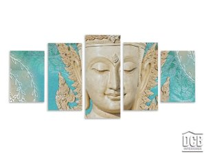 Quadro Buda Mosaico 5 Telas Azul Tiffany 70x162 Centímetros