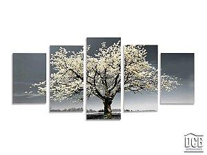 Quadro Decorativo Mosaico Árvore Fundo Cinza 70x160 Centímetros
