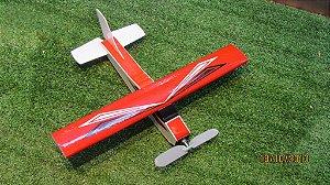 Aeromodelo CESSNA 210 vermelho refletivo que voa até 60 metros