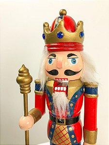 Boneco Quebra Nozes com coroa azul e vermelho -  26 cm
