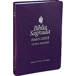 Bíblia Sagrada Harpa Cristã Letra Grande Almeida RC Violeta