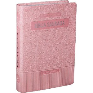 Bíblia Sagrada Letra Grande ARA Couro Sintético Luxo Rosa