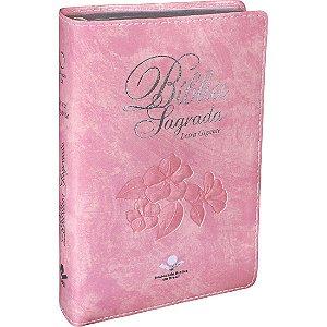 Bíblia Sagrada Letra Gigante Almeida RA Rosa Nobre com Índice