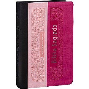 Bíblia Sagrada Letra Gigante ARA Rosa Claro, Pink e Preto