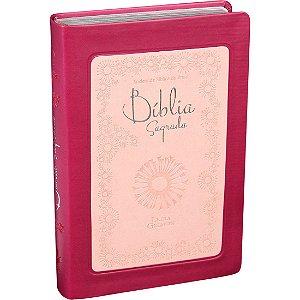 Bíblia Sagrada Letra Gigante ARA Capa Vinho e Rosa Claro