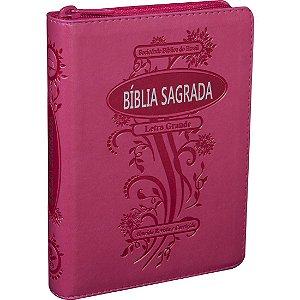 Bíblia Sagrada Letra Grande com Zíper e Índice Digital Pink