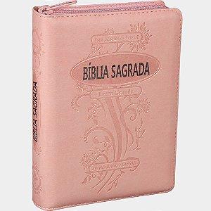 Bíblia Sagrada Letra Grande com Zíper e Índice Digital Rosa