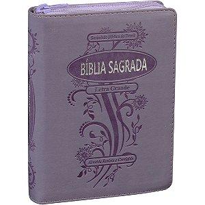 Bíblia Sagrada Letra Grande com Zíper e Índice Digital Violeta