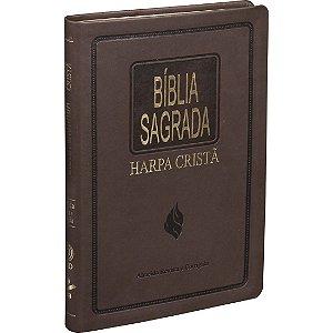 Bíblia Sagrada Ultrafina com Harpa Cristã Marrom Escuro ARC