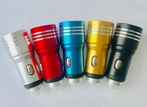 Fonte Carregador Veicular 2 USB 2.4A Metal