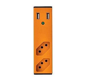 Filtro de Linha com Carregador USB 2,1A  - Enermax - LARANJA