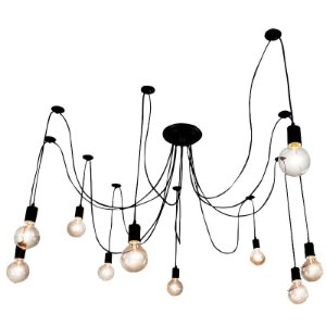 Lustre Para 10 Lâmpadas Pendente Preto - Thomas Edison